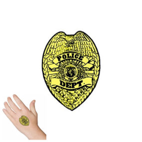Gold Police Badge Tattoo
