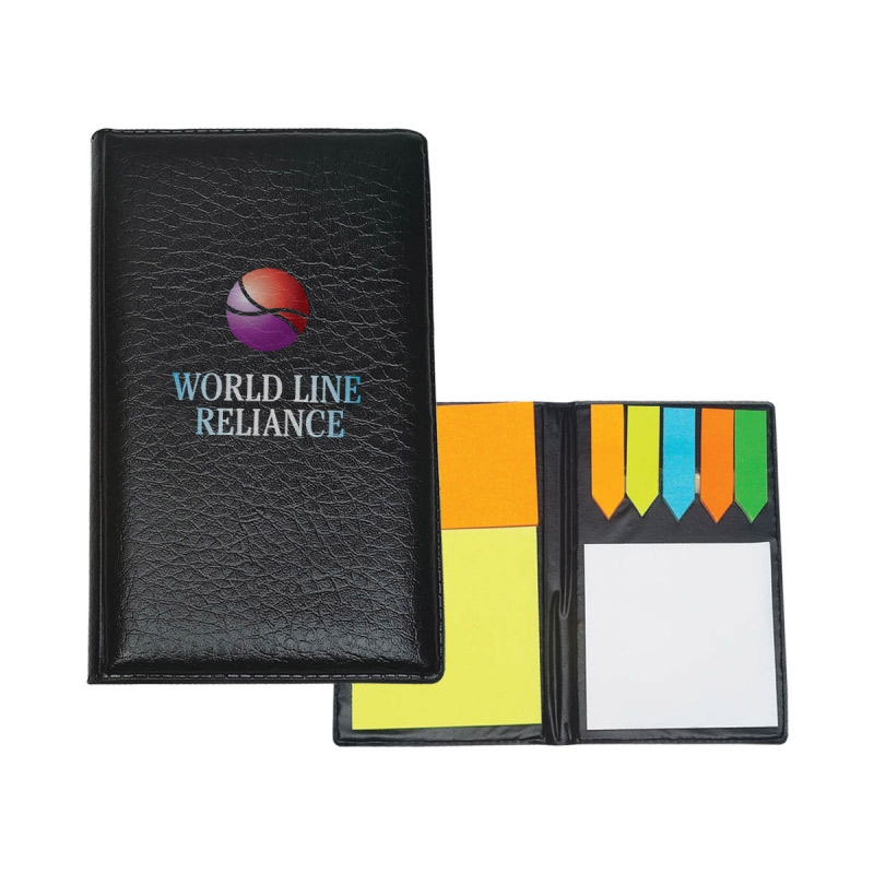 Leather Look Padfolio with Notes & Flags