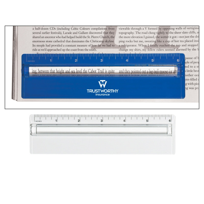 """Plastic 6"""" Ruler with Mag Glass"""