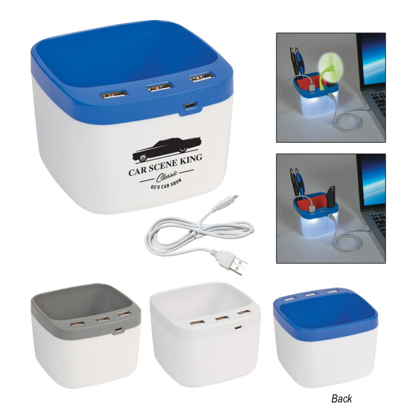 USB Light Up Desk Caddy Hub Station