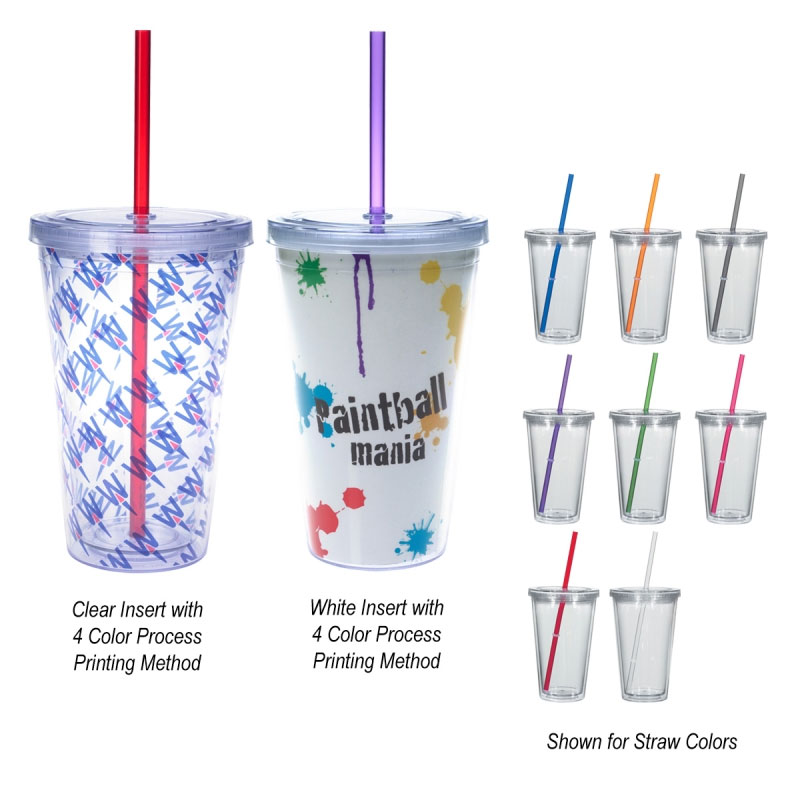 16oz. Double Wall Acrylic Tumbler with Insert