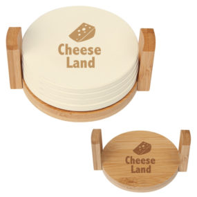 4-Coaster Set With Bamboo Holder
