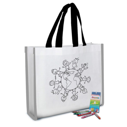 Reflective Coloring Tote Bag with Crayons