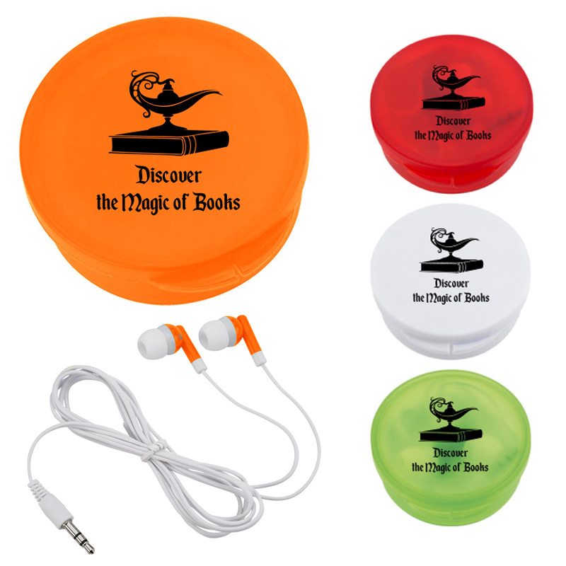 EARBUDS IN ROUND PLASTIC CASE